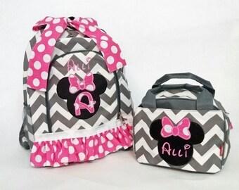 Backpacks, Back to School,Minnie Mouse Backpack, Minnie Mouse Bag, Diaper Bag, Lunch Bag,School Bag,Grey Backpack, Monogrammed backpack
