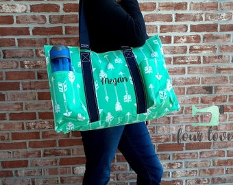 "Large Utility Tote Bag, Crosshatch Canvas Tote Bag, Embroidered Tote Bag, Personalized Tote Bag for Women Size: 18 ""L X 8 ""D X 13 ""H"