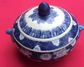 Sold Vintage Chinoiserie Hand Painted Porcelain Blue and White Tureen Ginger Jar