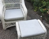 1960s Vintage White Wicker Chair and Ottoman Set