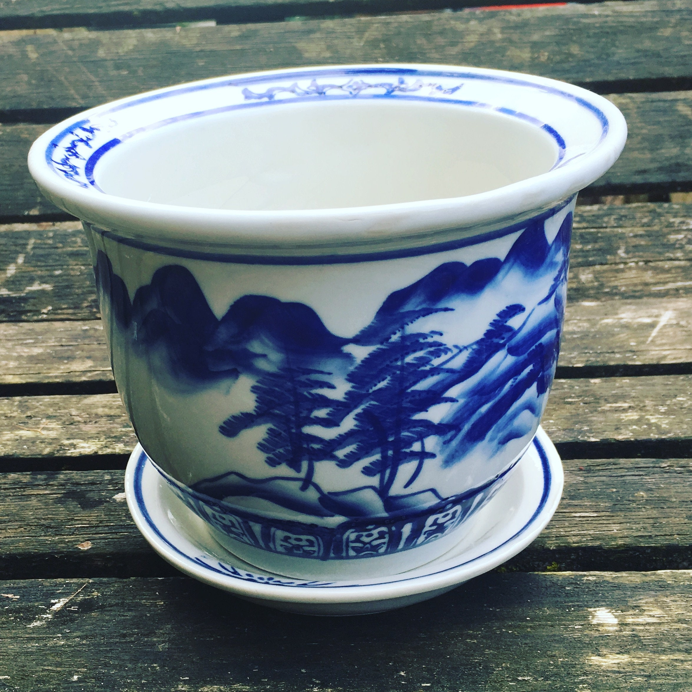 Sold Vintage Blue White Chinoiserie Planter Pot With Base