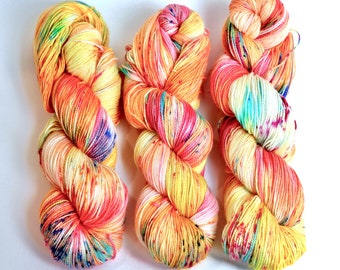 Cafe Del Sol - Callie Sock yarn , hand dyed yarn, yellow, pink, teal, orange