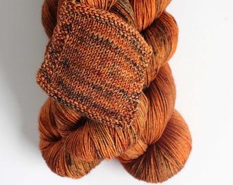 OOAK burnt orange  Peyton Sock 75 merino 25 nylon speckles