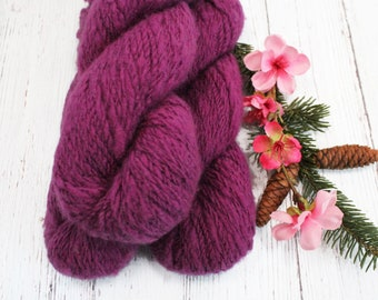 HANDSPUN CASHMERE deep magenta 100% cashmere worsted 2 ply knitting yarn Mallory