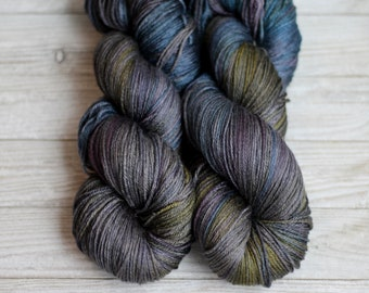 Hand dyed Yarn Hand Painted, Merino, Silk, Carleigh. Sock weight , 438 yds,  'Petrol'