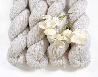 PLATINUM HEATHER  fingering 100% Cashmere Yarn  55g  399yd warm heather gray