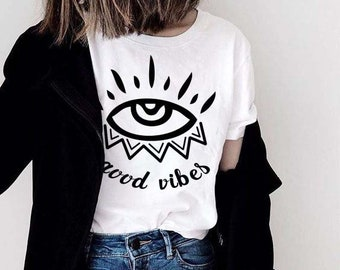 697da4897b17c1 Evil Eye Good Vibes Boho Comfy Unisex T-Shirt