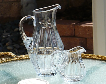 Lead Crystal Pitcher, Reed Design, with Thumb Prints, or Coin Spot, Home Living, Home Decor, Kitchen Dinning, Vintage Water Pitcher,