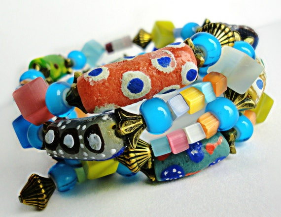 Afrikanische Perlen Krobo Pulverglas Handels Phantasie Armband Ghana Trade Beads