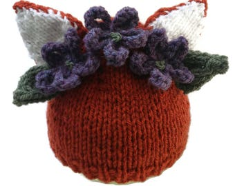 e10ee621eebb6a Fox Hat with Woodland Flower Garland Baby Beanie Flowers Animal Xmas Gift  Floral Crown
