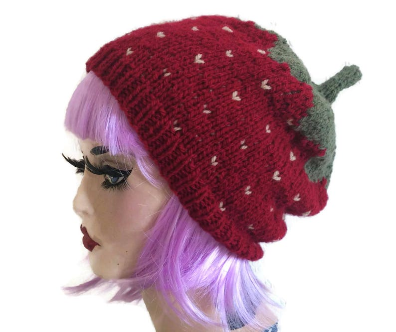 1dc7ed36259 Strawberry hat Knit beanie Hand knitted Adult Baby Child