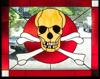 Skull and Crossbones custom stained glass window 30x36