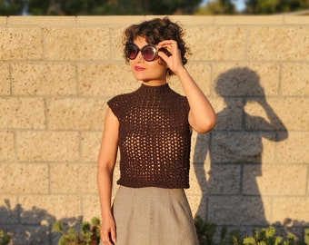Black Mock-Neck Crocheted Top