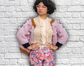 Lavender Chunky Knit Cardigan