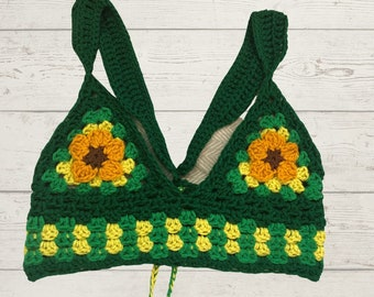 Green Halter with Golden Floral Cups