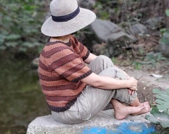 Brown Striped Top- Sweater Vest