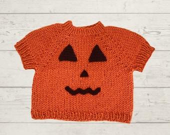 Knit Jack-O-Lantern Top- Pumpkin Sweater Vest