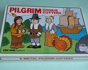 Vintage Metal Pilgrim Cookie Cutters Boxed Set of 6 - Thanksgiving