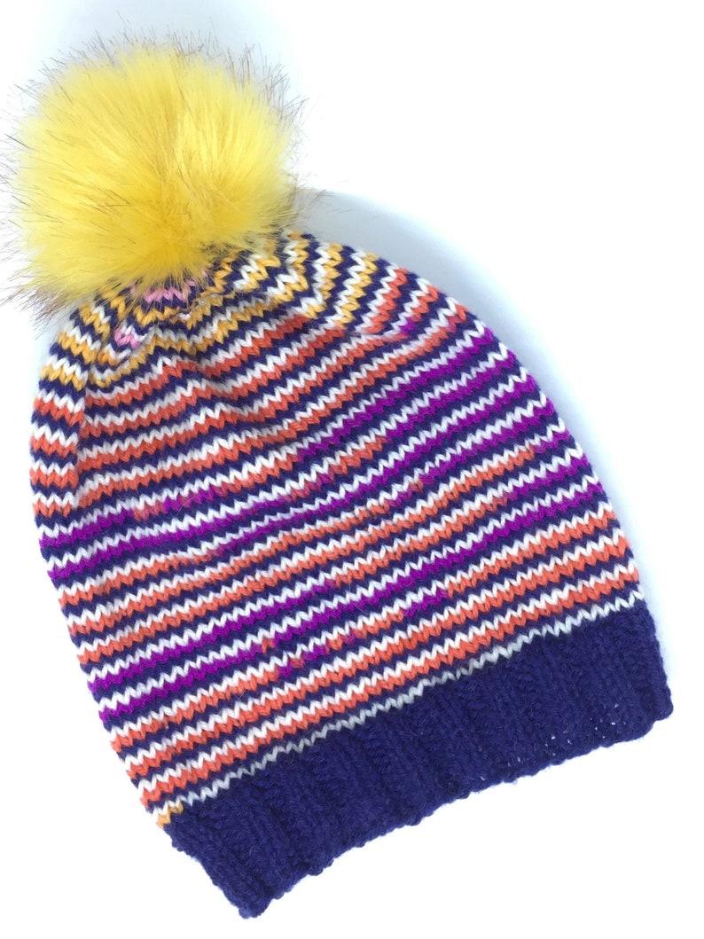 9169de3550310 Wool Hat Pompon Bobble Hat Winter Hat Rainbow Women Hat