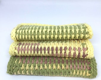 Dishcloths, Set of 3, Handmade, crocheted, 100% cotton, Eco-Friendly