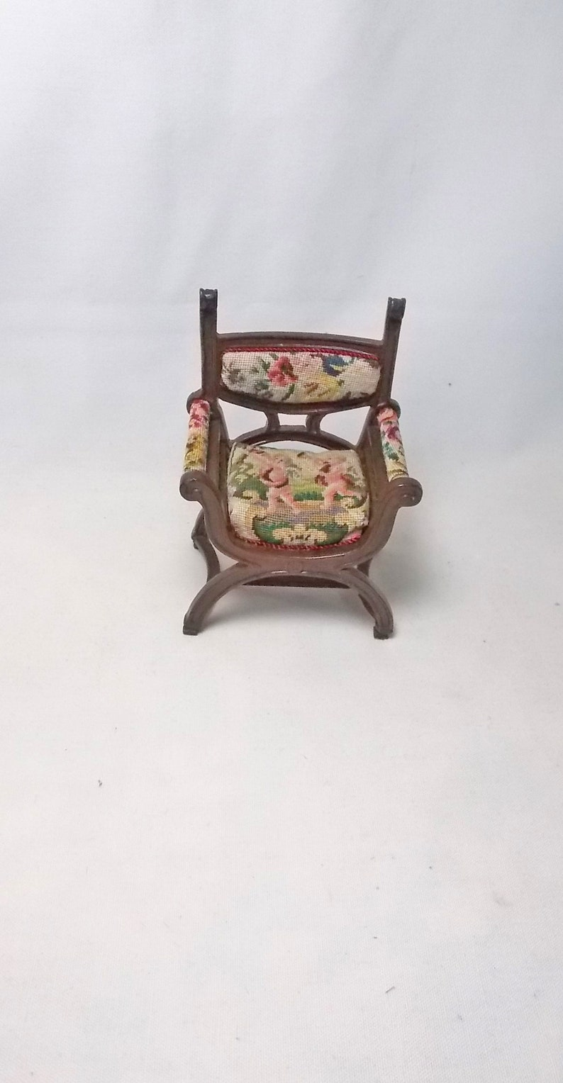 Dollhouse Miniature Pair Figural Antique Petit Point Puppenstuben & -häuser Set A