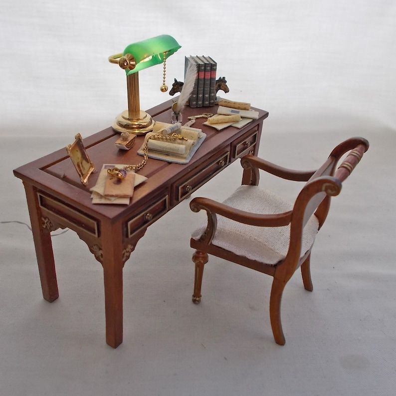 Dollhouse Miniature Ladies Walnut Dressing Table with Matching Chair