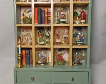 Dollhouse Miniature Large Green Cabinet Victorian Collector's Display.