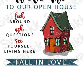 image regarding Welcome to Our Open House Printable called Open up household indicators Etsy