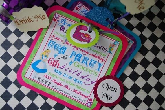 Alice In Wonderland Mad Hatter Tea Party Invitations DIY