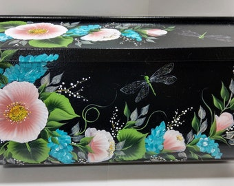 Custom Hand Painted Wild Roses Wall-Mount Mailbox, Medium Size Galvanized, Sealed and Protected, Personalization