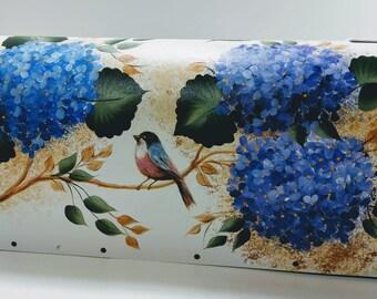 Custom Artfully Hand Painted Hydrangea & Birds Post-Mount Medium Aluminum White Post-mount, Optional Personalization, Sealer