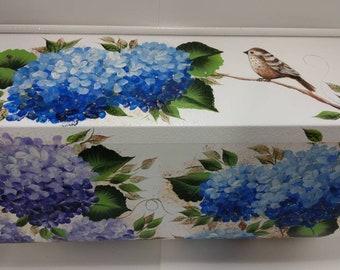 Custom Artfully Crafted Custom Hand-painted Hydrangea with songbird, Wall-Mount Mailbox, Galv Steel, Medium, Black or White