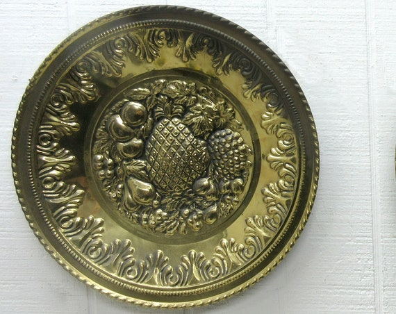 Vintage Embossed Metal Bronze Brass Wall Plaque Made In England