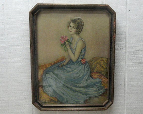 Vintage Lady Print with Roses - Blue Dress Woman Portrait Framed 1920's Borin Chicago Print - Octagon Frame