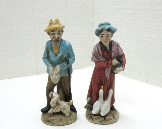 Vintage Porcelain Figurine Old Man And Woman Feeding Ducks Homco Number #C-2704