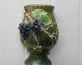 Vintage Ceramic Wall Pocket Grape Motif Art Nouveau Ceramic Wall Sconce