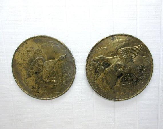 Vintage Brass Wall Plaques Ducks