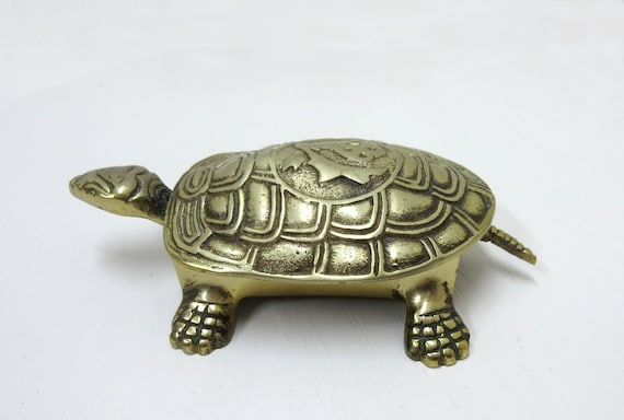 Vintage Brass Turtle Figurine Trinket Box