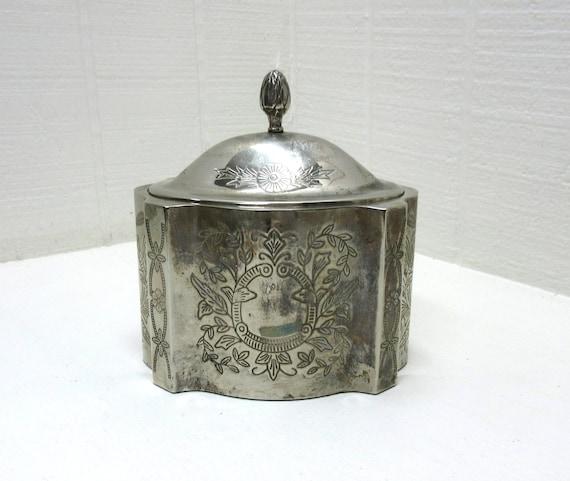 Vintage Metal Trinket Box Pineapple Knob On Lid Silver Plated Trinket Box Art Nouveau