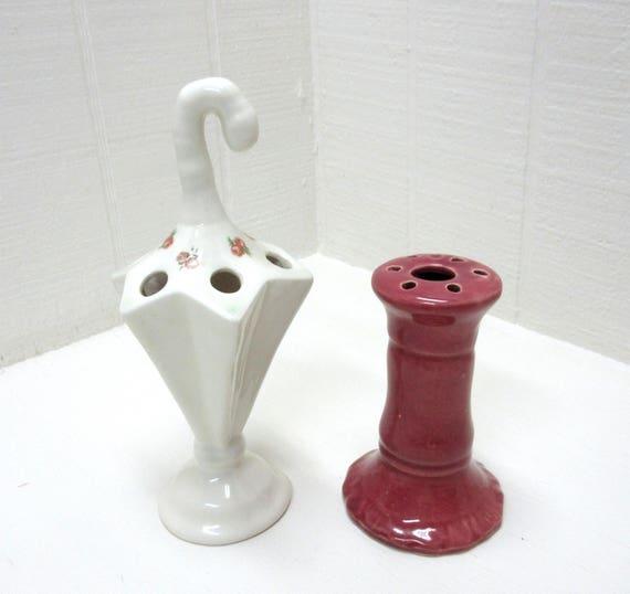 Vintage Ceramic Umbrella Flower Frog