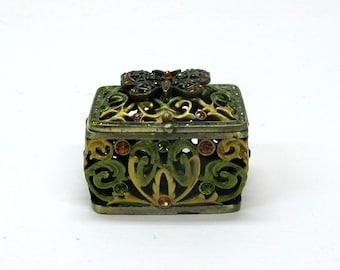 Vintage Rucinni Trinket Box Filigree Butterfly Swarvoski Crystals