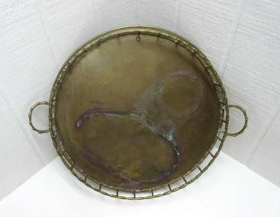 Vintage Brass Serving Tray With Galley Rail Round Brass Tray With Handles