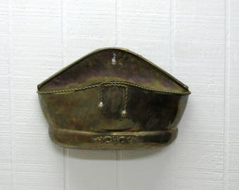 Vintage Hosley Polished Hammered Brass Wall Pocket Planter Wall Decor