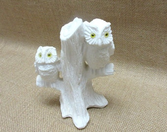 Vintage White Alabaster Horned Owl Figurines Sitting In A Tree Made in Italy