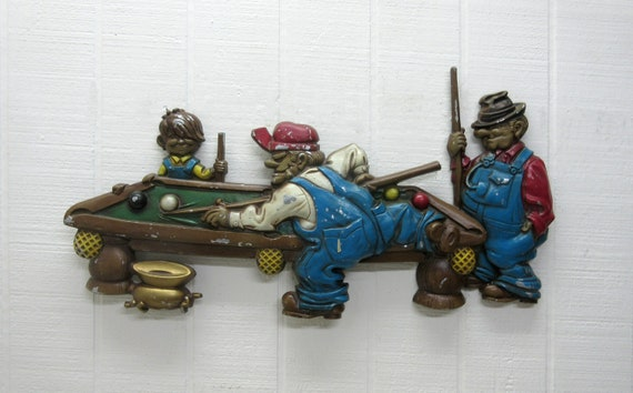 Vintage Sexton Cast Aluminum Wall Plaque - 1971 - Pool Players Wall Decor # 792