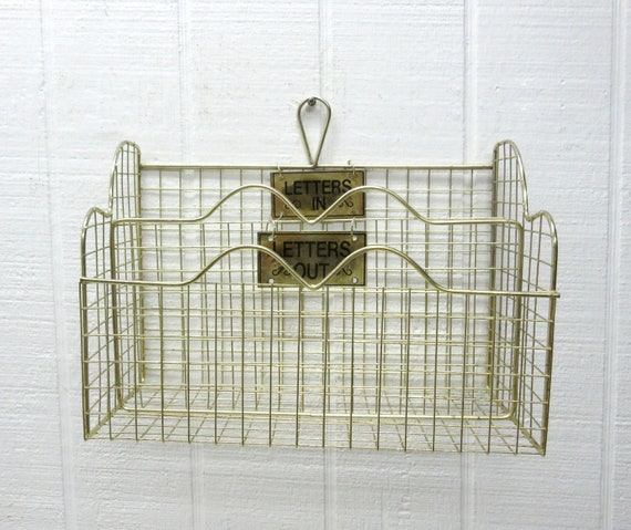 """Vintage Metal Wire """"LETTERS In LETTERS Out"""" Letter Holder Desktop Or Wall Mount"""