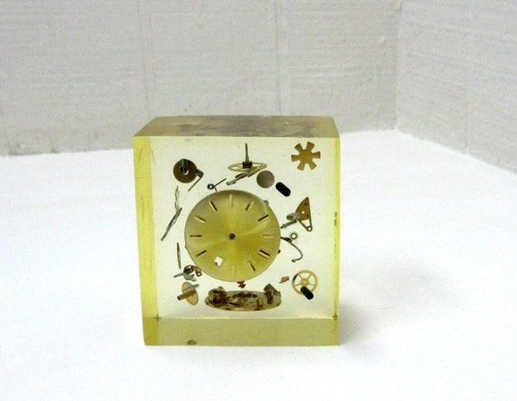 Vintage Paperweight Exploded Watch Parts Embedded In Lucite