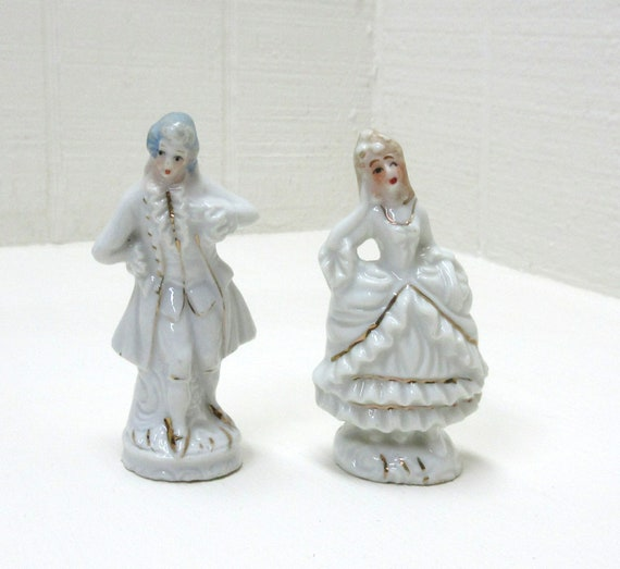 Vintage Porcelain Victorian Couple Matched Set Hand Painted Made In Japan