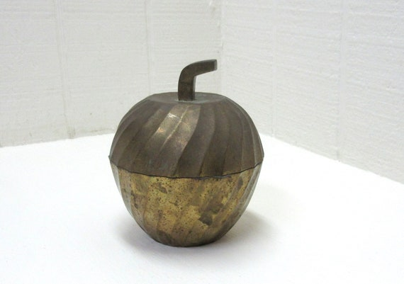 Vintage large Brass Apple Trinket Box Vorka Exports LTD