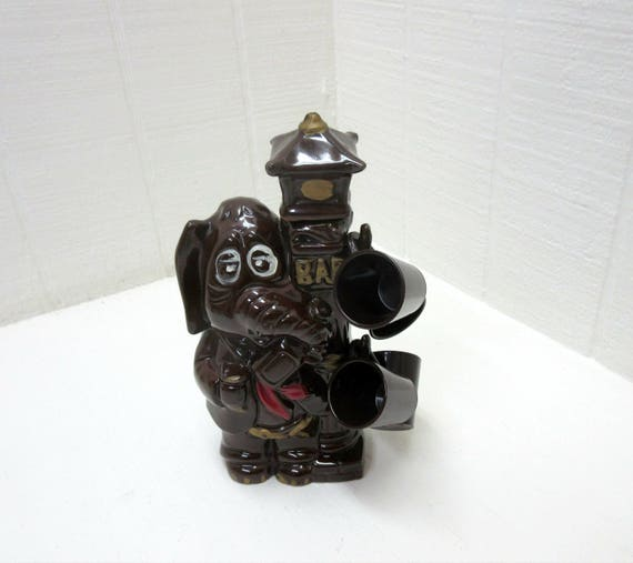 Vintage  Enesco Ceramic Decanter Elephant Lamp Post Bar